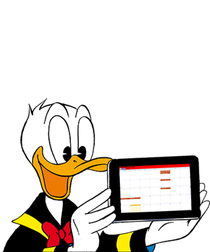 Donald mit Tablet